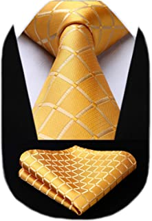 HISDERN Check Wedding Plaid Tie Handkerchief Men's Necktie Pocket Square Set For Formal Business