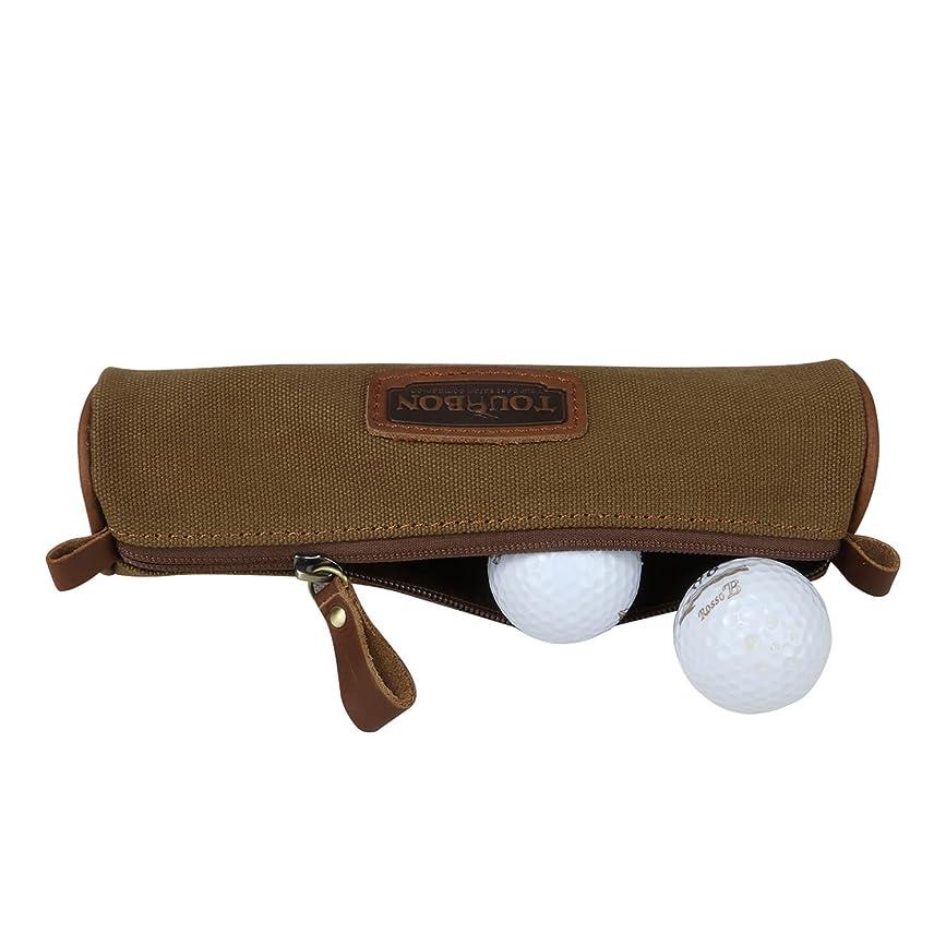 満員蒸野生Tourbonキャンバスゴルフボール ホルダー ポーチ 学生鉛筆ケース ステーショナリーバッグ