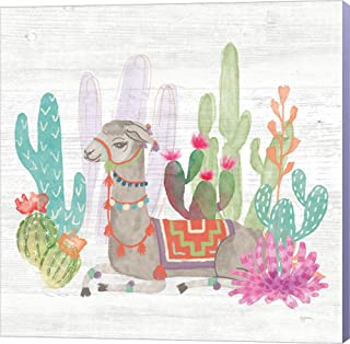 Lovely Llamas I by Mary Urban Canvas Art Wall Picture, Museum Wrapped with French Lilac Sides, 12 x 12 inches