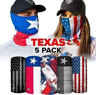 S A - UV Face Shield 5 Pack - Multipurpose Neck Gaiter, Balaclava, Elastic Face Mask for Men and Women