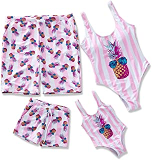 Yaffi Family Matching Swimsuit 2019 Newest Pineapple Printed Striped Monokini One Piece Bathing Suit Beach Wear