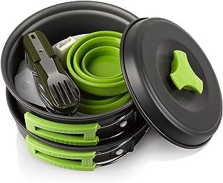 Khroom Zestaw naczyń do gotowania na świeżym powietrzu, 13-częściowy, nie zawiera BPA, nie zawiera substancji toksycznych,...