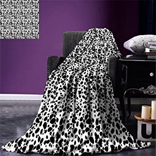 smallbeefly Dalmatian Dog Print Throw Blanket Black and White Puppy Spots Fur Pattern Fun Spotted Pets Animal Desing Warm Microfiber All Season Blanket for Bed or Couch White Black