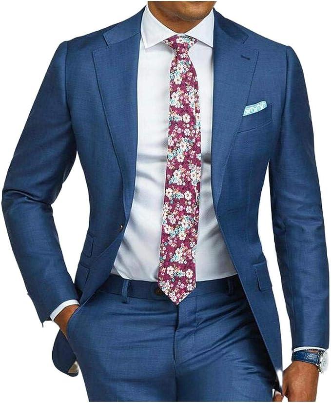 Outwear 2 piezas azul formal hombres traje slim fit solo ...