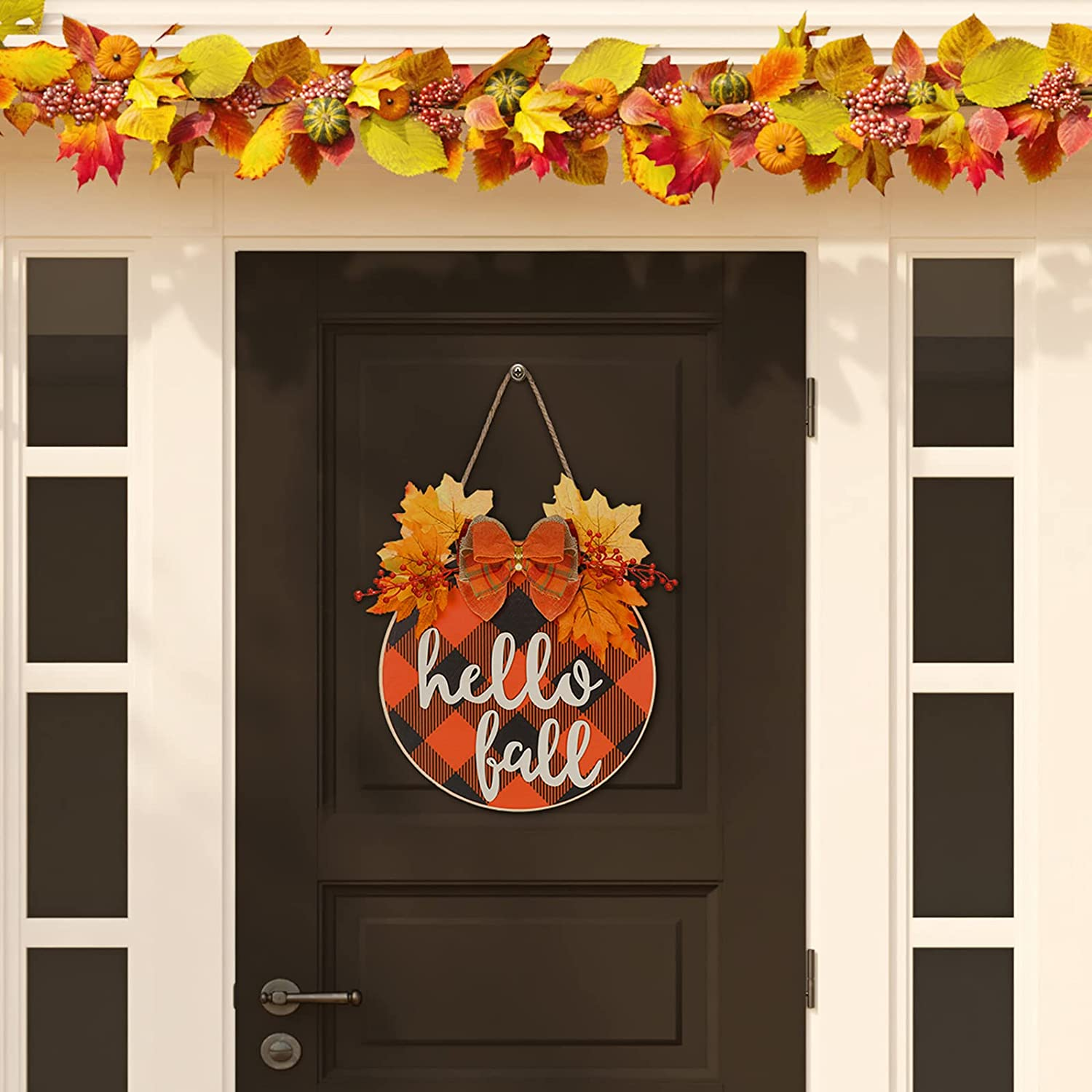 Hello Fall Hanging Wood Sign Denver Mall Door Day Front Thanksgiving Dedication 11
