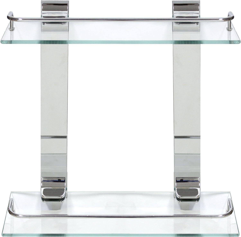 MODONA Double Glass Wall Shelf with Rail – Polished Chrome – 5 Year Warrantee