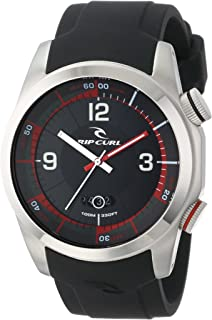 """Rip Curl Men's A2591 - BLK """"Launch"""" Stainless Steel Surf Watch with Black Silicone Band"""