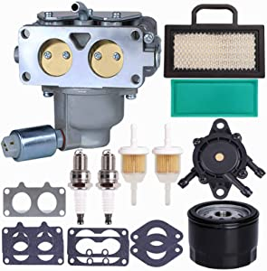 DUCTAIL 791230 Carburetor, Compatible with Briggs and Stratton 407777 20-25 HP V-Twin Engine, 699709 499804 Carburetor Kit for John Deere MIA10632 LA150 LA145 D130 L120 with Lawn Mower Air Filter