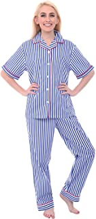 Alexander Del Rossa Women's Lightweight Button Down Pajama Set, Short Sleeved Printed Cotton Pjs