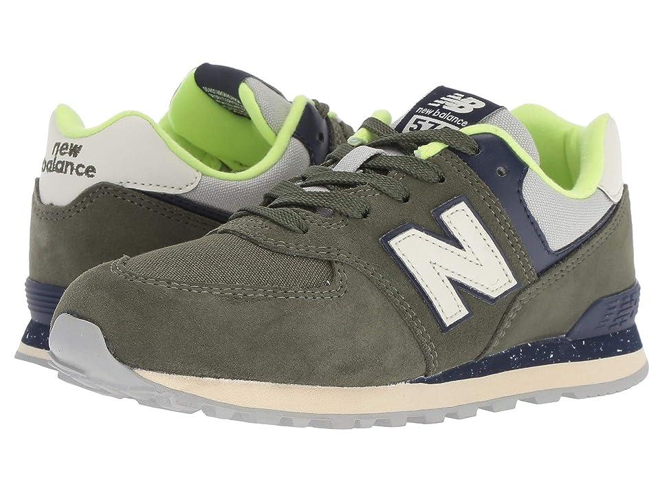 New Balance Kids GC574v1 (Big Kid) (Dark Covert Green/Pigment) Boys Shoes