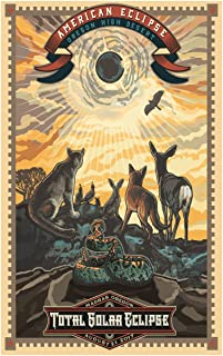 Madras, Oregon Eclipse Art Poster by Artist Paul Lanquist (12 x 18 inch). Giclee Print for Bedroom, Family Room, Kitchen, Dorm Room or Office Wall Décor