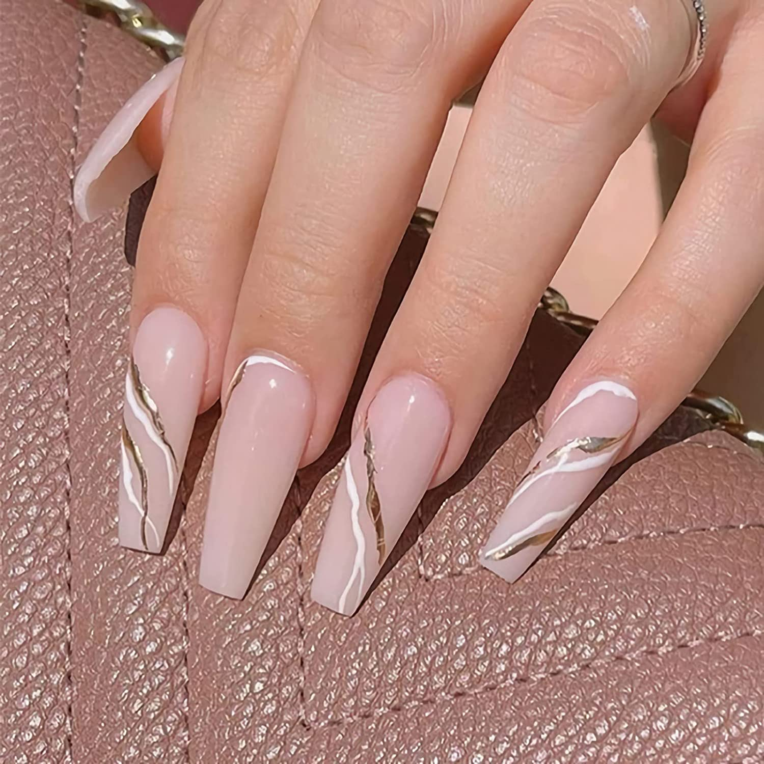 Memphis Mall IMSOHOT Fake Nails with Glue Press Glossy on Coffin Same day shipping 24pcs