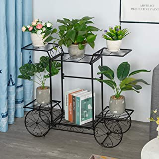 Dittzz Soporte para Plantas, Escalera para Flores de Metal Estantería para Macetas Decorativa para Plantas Exterior Interior Jardín Balcón Corredor,83 x 68 x 13cm