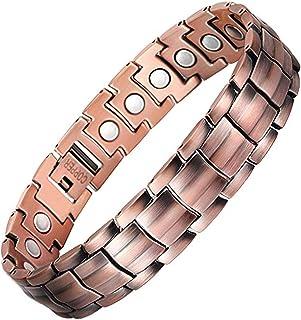 Feraco Elegant 99.99% Pure Copper Bracelet for Men Wide Copper Magnetic Bracelets with..