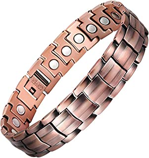 Feraco Elegant 99.99% Pure Copper Bracelets for Men Arthritis Pain Relief Strong Magnetic Therapy Bracelet