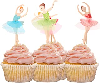 HOKPA Cupcake Toppers Ballerina,Ballet Dancer Girls for Wedding Baby Shower Birthday Cake Decoration,24 PCS