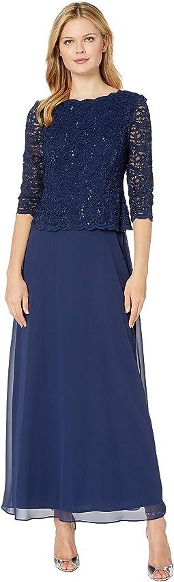 Long Sequin Lace Mock Dress