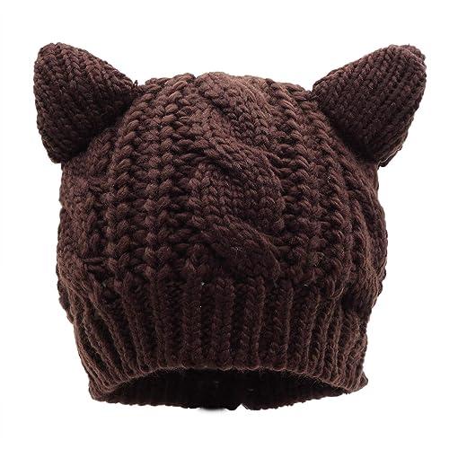 dfd28d5e5c6 Bellady Women s Hat Cat Ear Crochet Braided Knit Caps