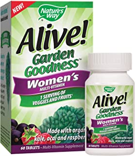 Nature's Way Alive! Garden Goodness Women's Multivitamin, Veggie & Fruit Blend (1400mg per serving), Made with Organic Kal...