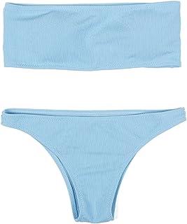 0bae0b81f3 HAHASOLE Womens Ribbed Bandeau 2 Way Wear Two Pieces Bikini Set Sexy  Strapless Swimsuit