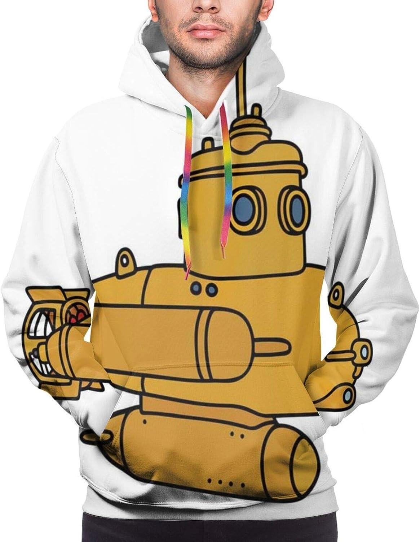 Men's Hoodies Sweatshirts,Abstract and Creative Drawing of Small Bathyscaphe Ocean Marine,Small