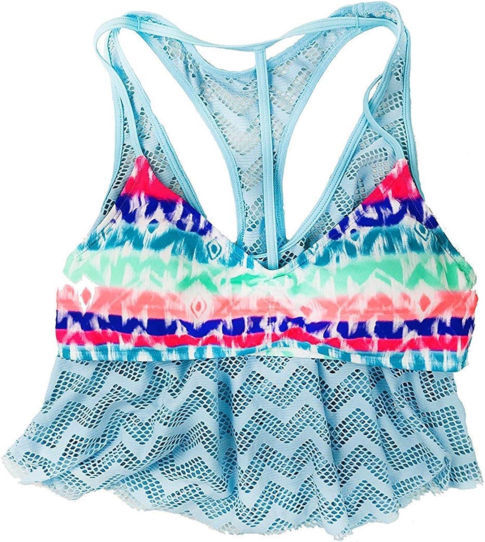 HulaHoney Women's Crochet Crop Top with Printed Racerback Bralette Swimsuit