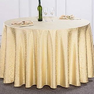 Diam/ètre:134cm YFCH Nappe Ronde Broderie Couverture de Table Nappe Anti-Tache Maison Restaurant Mariage C/ér/émonie Beige A