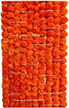 Sphinx Artificial Marigold Fluffy Flowers Garlands for Decoration - Pack of 5 (Dark Orange)