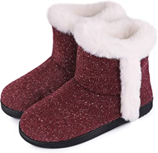 Women's Cotton Knit Memory Foam Ankle Booties Slippers Fashion Anti-Skid House Shoes with Comfy Plush Lining