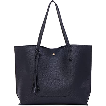 Myhozee Handbags Shoulder Bags for Women Ladies, PU Leather Casual Tote Bags Shopping Handbags Top Handle Bags Crossbody Shoulder Bags Multifunction Handbag for Work Daily Use-Black