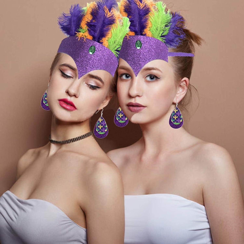 Mardi Gras Costume Feather Headdress Mardi Gras Feathers Headband Headpieces Halloween Cosplay Party Hair Accessories Headwear Adjustable Fascinator Hats for Women Tea Party Wedding Carnival