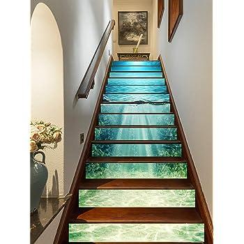 FLFK 3D Oceano azul profundo auto-adhesivos Pegatinas de Escalera pared pintura vinilo Escalera calcomanía Decoración 39.3 pulgadas x7.08 pulgadas X 13Piezas: Amazon.es: Bricolaje y herramientas