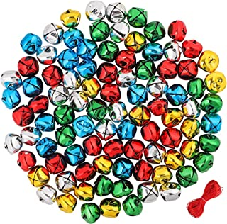 CEWOR 144Pcs 1Inch Jingle Bells Colorful Christmas Metal Bells Craft for Festival Decoration DIY Charms Jewelry Making