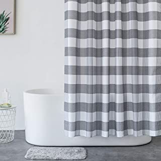 Aimjerry White and Black Fabric Shower Curtain for Bathroom,Waterproof 72 X 72 Inch