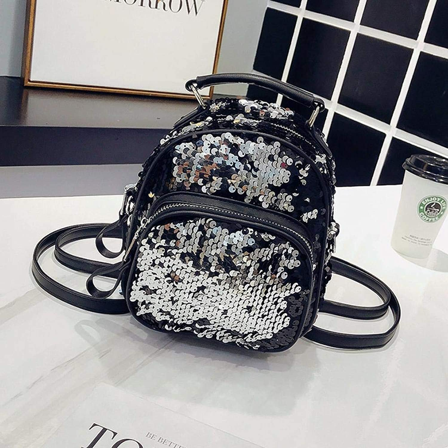 Sxuefang Women Leather Backpack SoftFace Polyester Sequin Girl Bag Solid color Oval Womens Backpack 18x9x22cm