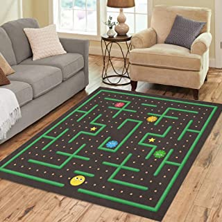 Semtomn Area Rug 3' X 5' Pac Man Analog Game Ghosts Modern Arcade Video Interface Home Decor Collection Floor Rugs Carpet for Living Room Bedroom Dining Room