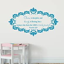 Proverbs 31:30 Vinyl Wall Decal 7 by Wild Eyes Signs Charm is deceitful and beauty is fleeting, Shabby Chic Decor, Teen Girl Wall Decal, Modern Nursery Girl Sticker, Damask Frame, PRO31V30-0007
