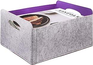 KELIVOL Felt Foldable Storage Basket, Storage Basket with Carry Handles, Toy Storage Box, Book Felt Storage Bin, Laundry B...