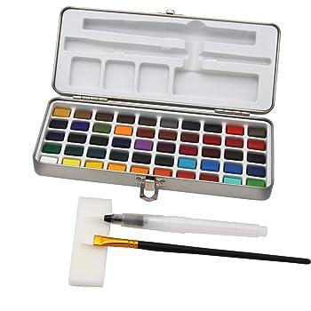 Paintersisters - Caja de Pinturas para Acuarelas (50 Colores y Pincel de depósito de Agua en Caja de Metal, 50 Botellas): Amazon.es: Hogar
