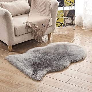 LOCHAS Deluxe Fluffy Faux Sheepskin Silky Rug for Bedroom Floor Sofa, Shaggy Chair Cover Seat Couch Pad Area Carpet, 2 x 3 feet, Grey