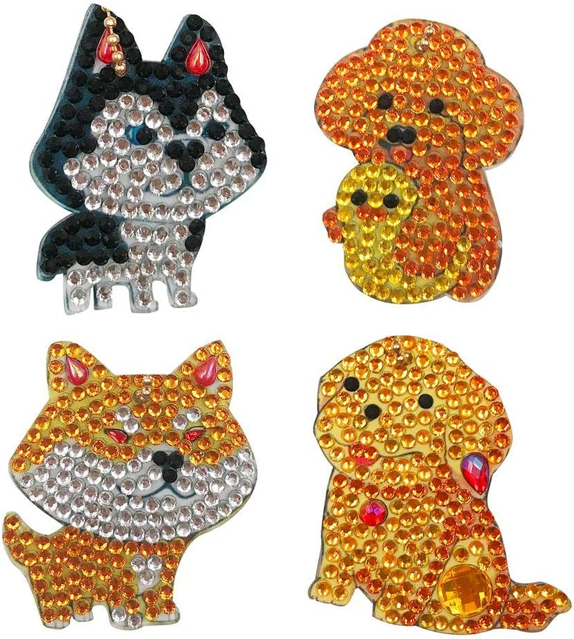 Fees free DIY Puppy Diamond Painting Keychain Max 48% OFF Kits 4pcs Christmas Gifts Fu