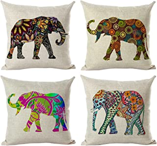 laime Throw Pillow Covers Decorative Pillowcases 18x18inch (4 Pieces Set) Pillow Cases Home Car Decorative (Bright Elephant)