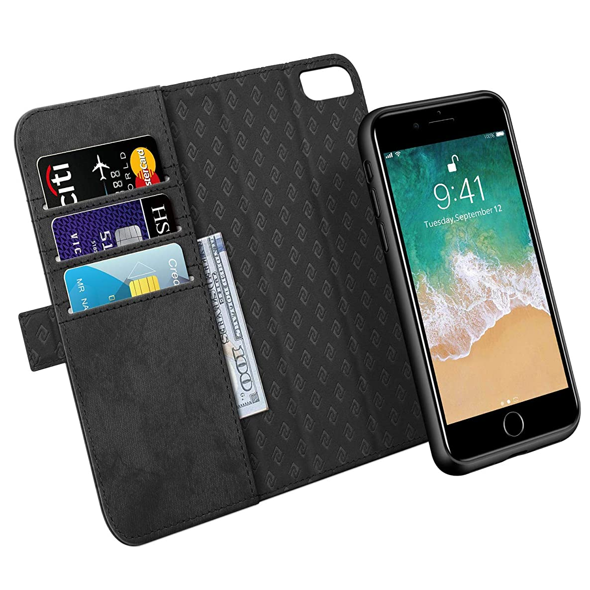Zover Compatible with iPhone 8 iPhone 7 iPhone 6 Detachable Wallet Case Premium PU Leather [RFID Blocking] Flip Folio Cards Holder Support Car Mount Kickstand(6/7/8 4.7