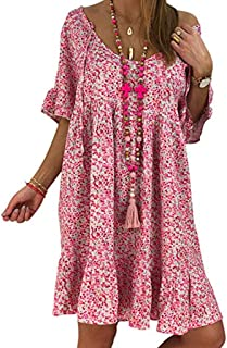 Casual Plus Size Dress,Londony🌞 Women Bohemian Neck Tie Vintage Printed Ethnic Style Summer Shift Dress Pink