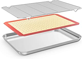 Bastwe Baking Sheet with Cooling Rack and Silicone Baking Mat, 20 Inch Stainless Steel Bakeware, Healthy & Nontoxic & Rustproof & Easy Clean & Dishwasher Safe