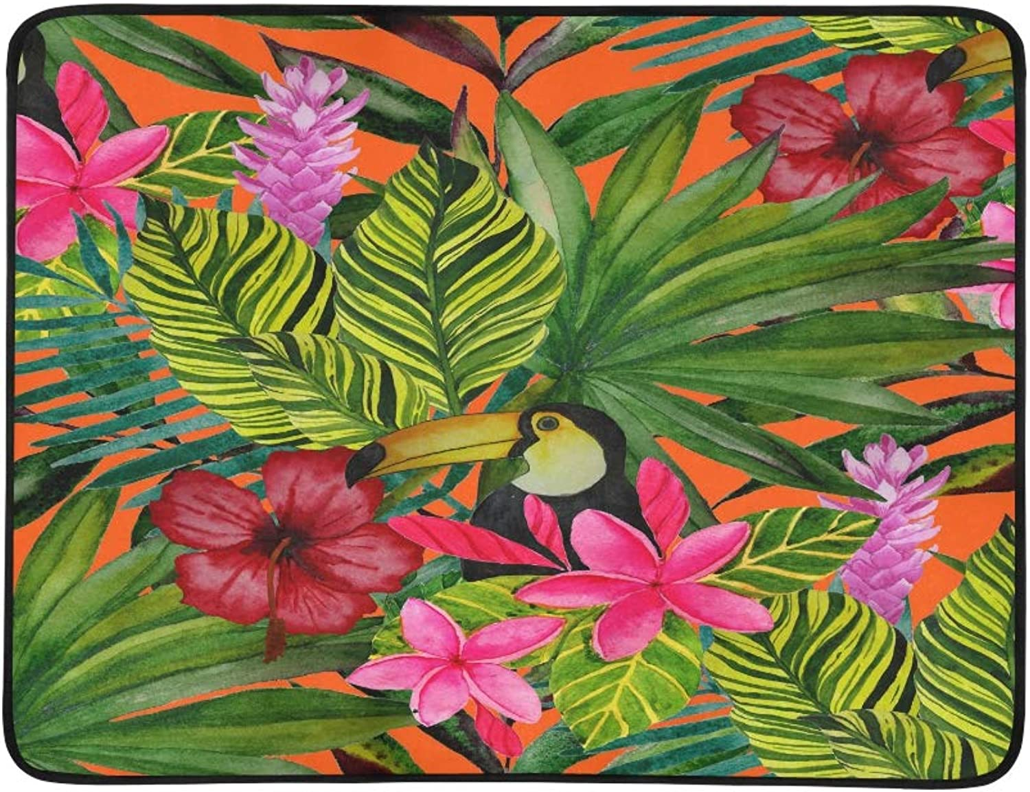 Tropical Leaves with Flowers and Birds Pattern Portable and Foldable Blanket Mat 60x78 Inch Handy Mat for Camping Picnic Beach Indoor Outdoor Travel