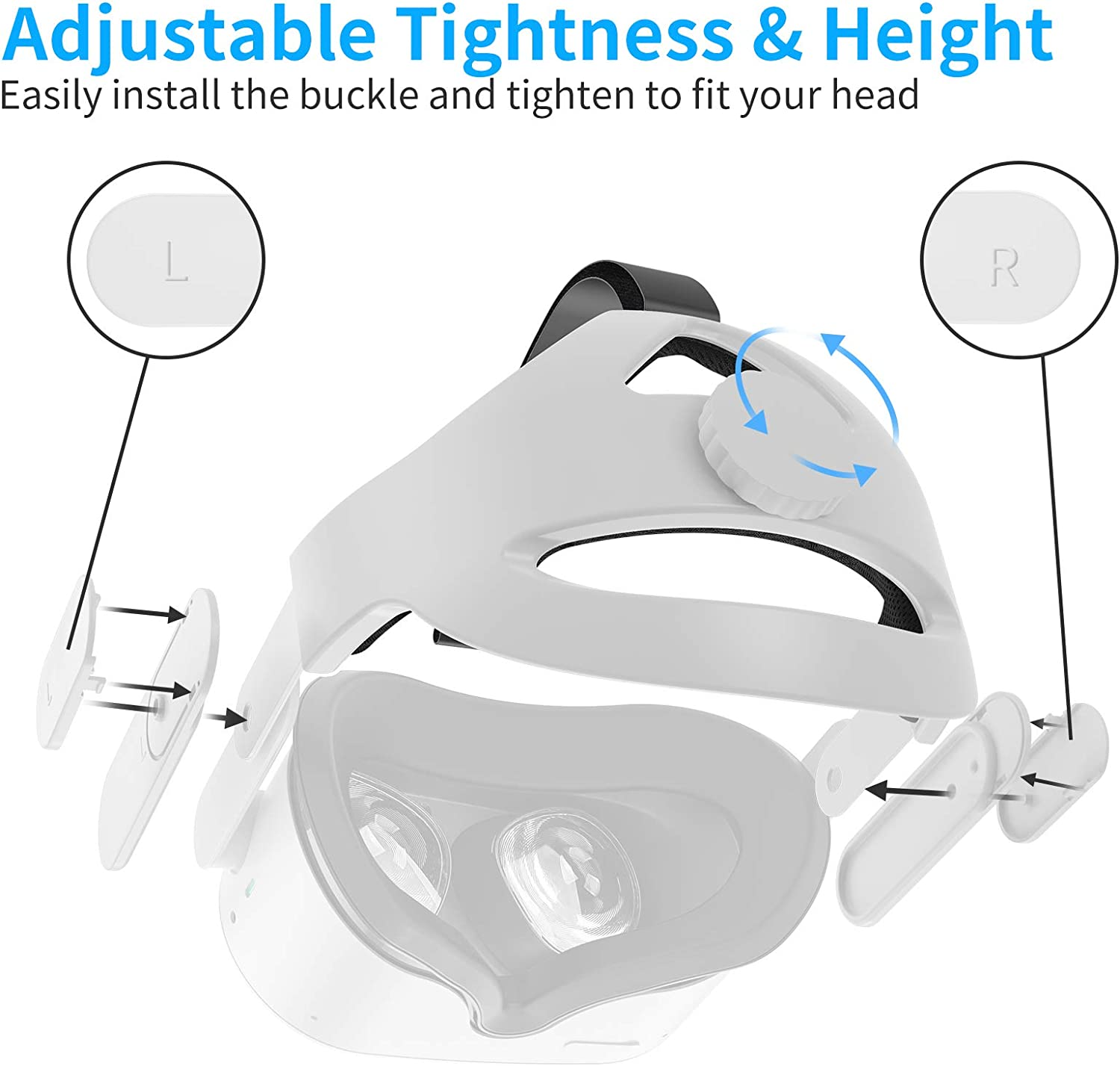 Adjustable Quest 2 Headset Strap Compatible with Oculus Quest 2 ...