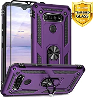TJS Phone Case Compatible for LG K51, LG Q51, LG Reflect, with [Full Coverage Tempered Glass Screen Protector][Impact Resistant][Defender][Metal Ring][Magnetic Support] Protector Armor Cover (Purple)