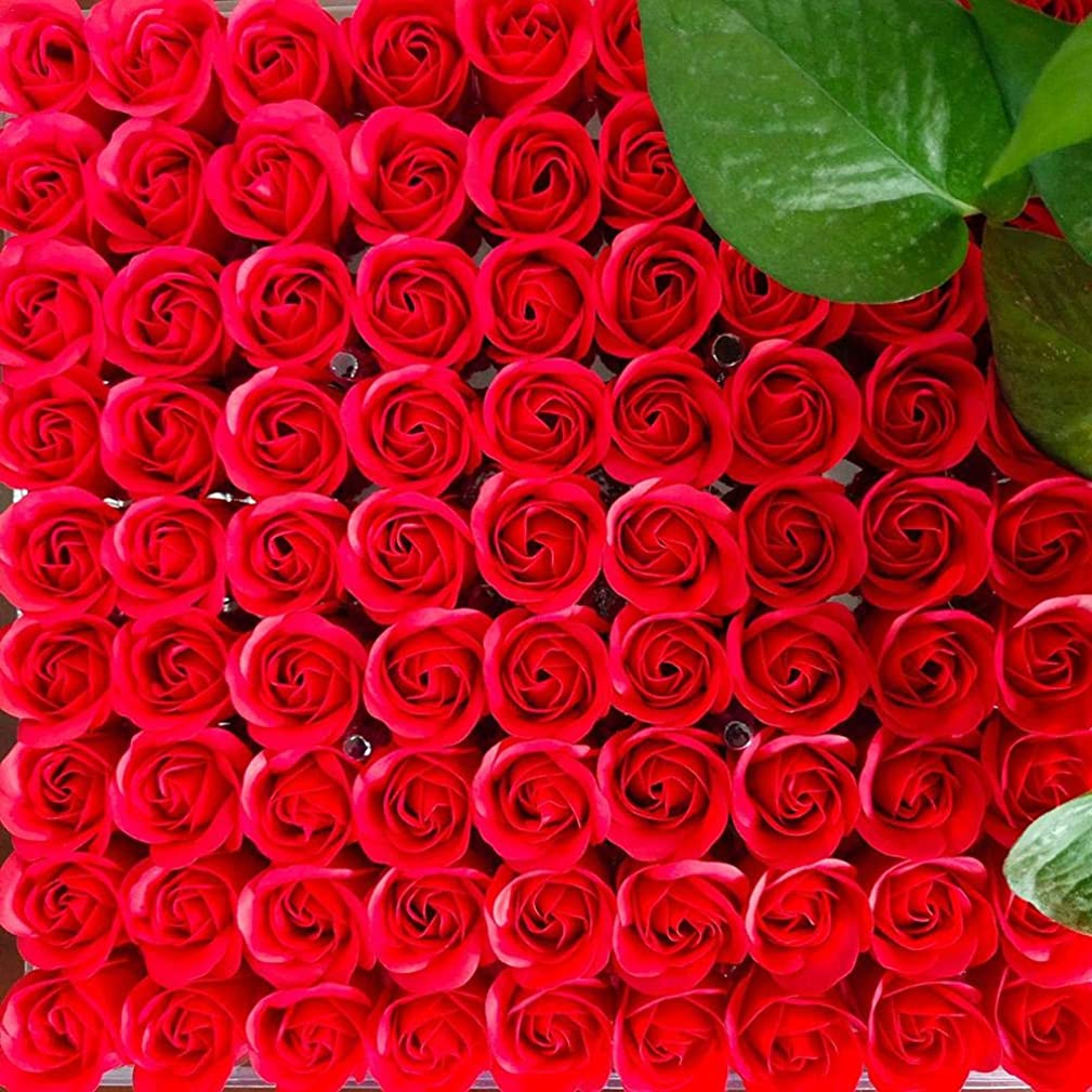 クッション富弱点81PCS DIY ボディソープ バラ ローズ 洗濯用 フラワーソープ 良い香り 三層 贈り物 結婚披露宴 バレンタインデーギフト 石鹸の花+ボックス