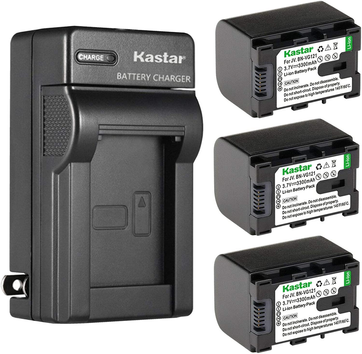 Kastar 3-Pack Battery and Brand new Max 64% OFF AC Wall Replacement GZ JVC for Charger